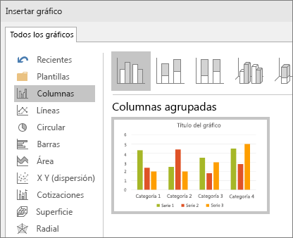 Muestra la selección del gráfico de columnas en PowerPoint