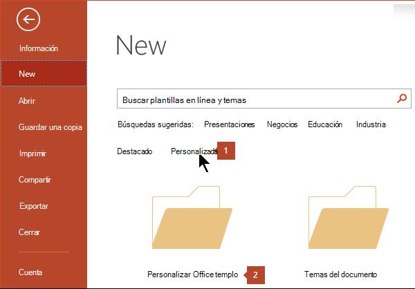 En Archivo > Nuevo, haga clic en Personalizar y, a continuación, en Plantillas personalizadas de Office.