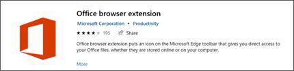 El panel de extensión del explorador de Office en Microsoft Store.