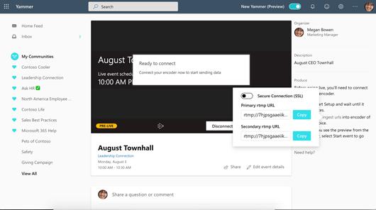 Captura de pantalla que muestra la codificación de las direcciones URL de un evento de Yammer Live
