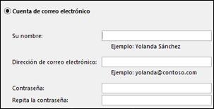 Escriba su dirección de correo electrónico y contraseña de Exchange