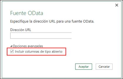 Power Query: conector de OData mejorado, opción de importar columnas de tipo abierto desde fuentes de OData