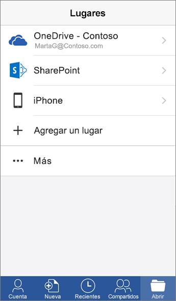 Captura de la pantalla de Lugares en la aplicación móvil de Word.