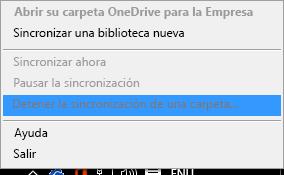 Captura de pantalla del comando Detener la sincronización de una carpeta al hacer clic con el botón derecho en Cliente de sincronización de OneDrive para la Empresa