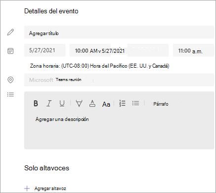 Sección Detalles del evento
