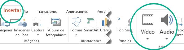 En la pestaña Insertar de la cinta de la barra de herramientas de PowerPoint, seleccione Audio o Vídeo