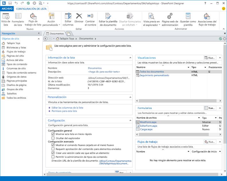 Imagen de la Página principal de SharePoint Designer 2013.
