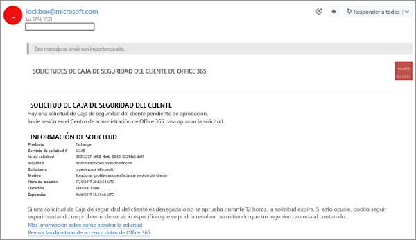 Captura de pantalla: correo electrónico de Caja de seguridad de cliente de ejemplo