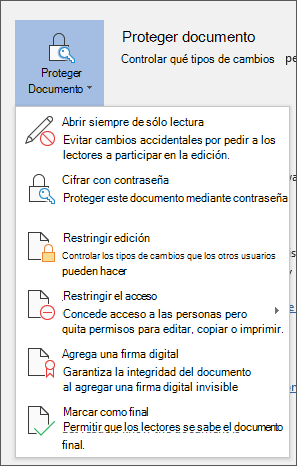Menú proteger documento en Word para Office 365