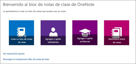Asistente para Bloc de notas de clase de OneNote, con iconos para crear un bloc de notas de clase, agregar o quitar alumnos, agregar o quitar profesores y administrar blocs de notas.