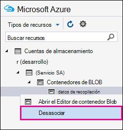 Haga clic con el botón derecho en la ingesta y haga clic en Desasociar para desconectar de su área de almacenamiento de Azure
