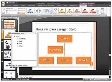 Imagen del panel de texto y del gráfico SmartArt