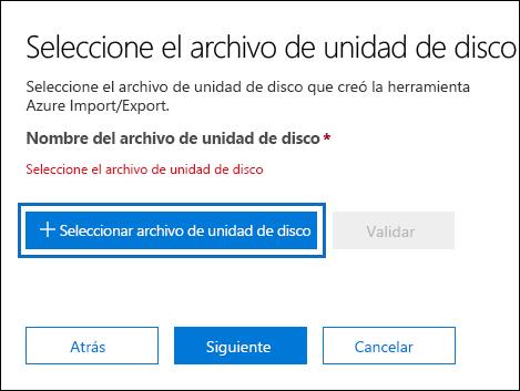 Haga clic en Seleccionar unidad archivo para enviar el archivo de diario que se creó al ejecutar la herramienta WAImportExport.exe