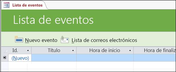 Formulario de la lista de eventos en la plantilla de la base de datos de eventos de Access