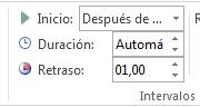 En el grupo Intervalos, puede configurar los detalles de intervalos.