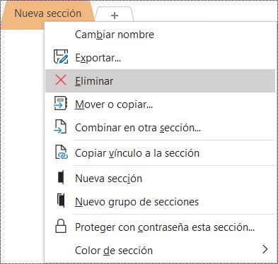 Captura de pantalla del menú contextual para quitar una sección