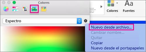 Seleccione el icono de la imagen para elegir un color desde un archivo