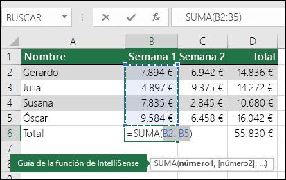 La celda B6 muestra la fórmula de SUMA Autosuma: =SUMA(B2:B5)
