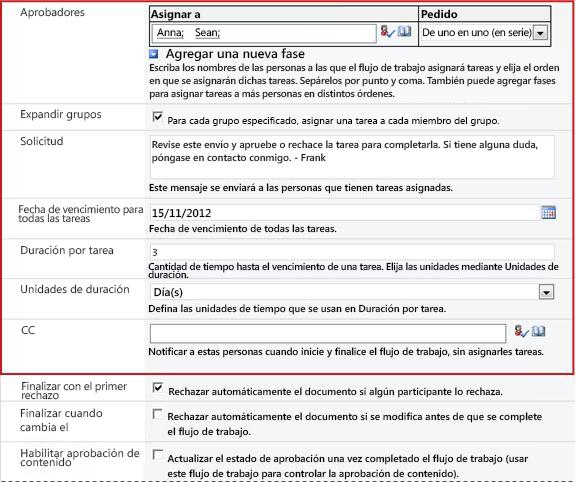 Formulario para especificar información específica de la ejecución