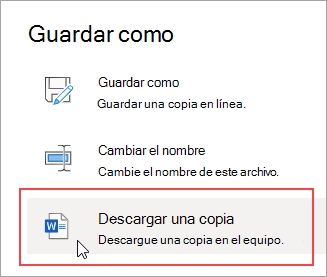 Guardar como: Descargar una copia