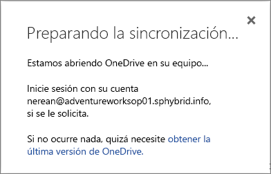 Captura de pantalla del cuadro de diálogo Preparando la sincronización al configurar OneDrive para la Empresa para que se sincronice