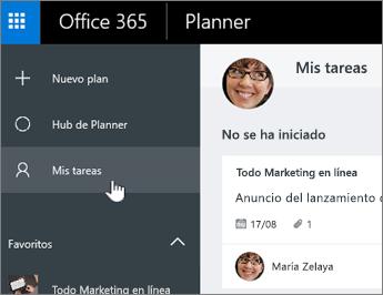 Haga clic en Mis tareas para ver solamente las tareas de un plan