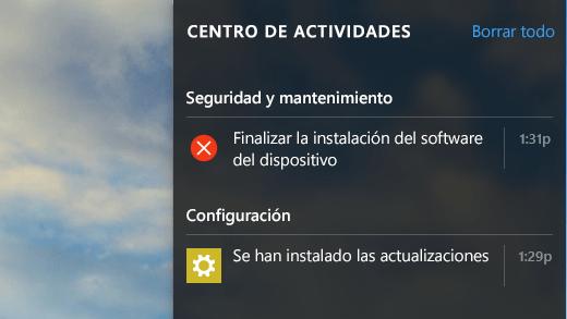 Notificaciones del centro de actividades