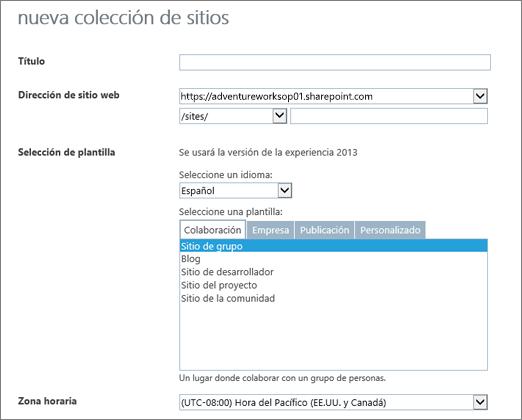 Cuadro de diálogo Nueva colección de sitios (mitad superior)