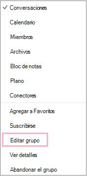 Menú contextual de un grupo de calendario en el que se resalta la opción Editar grupo. El menú aparece al seleccionar el botón Más acciones en la barra de menús del grupo.