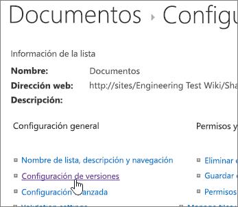 Cuadro de diálogo de configuración de biblioteca con control de versiones seleccionado.