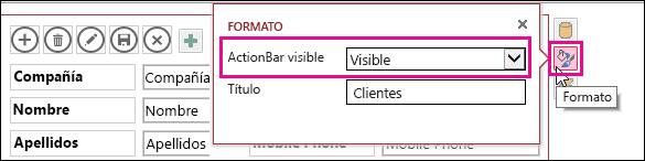 Propiedad visible de la barra de acciones en el menú de formato