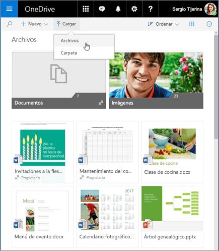 Carga de archivos de OneDrive