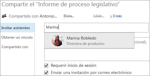 Captura de pantalla de cómo compartir un archivo en OneDrive para la Empresa