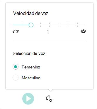Velocidad de voz de lector inmersivo y género