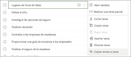 Cuadro de diálogo para listar tareas. El botón Copiar vínculo a la tarea está resaltado.