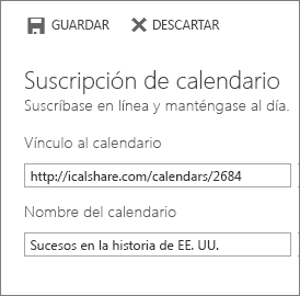 Vínculo a un calendario en línea