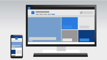 Un teléfono y un equipo que muestra un sitio de comunicación de SharePoint Online