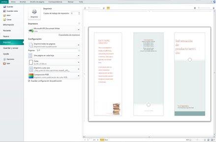 Información general de la configuración de impresión de Publisher