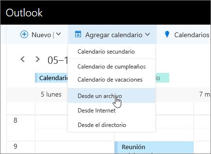 Captura de pantalla de la lista Agregar calendario con la opción Desde archivo seleccionada.