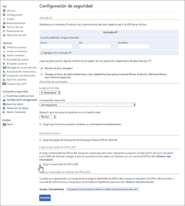 Exigir identidad de Office 365 para usuarios de Yammer - Office 365