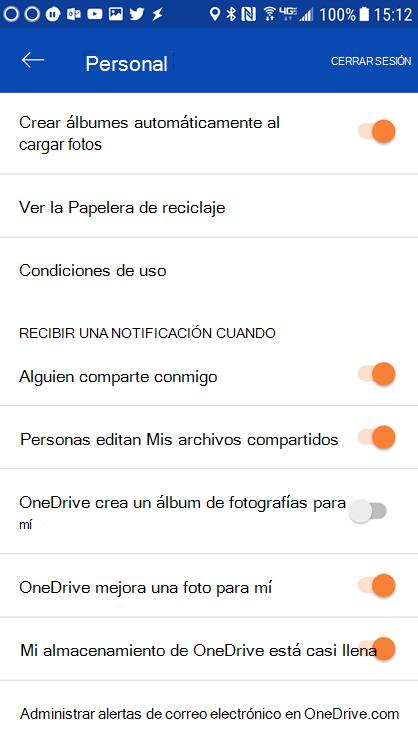 Vaya a la configuración de su aplicación de OneDrive para Android para establecer la configuración de notificaciones.