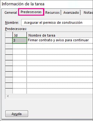 Cuadro Información de la tarea con la pestaña Predecesoras.