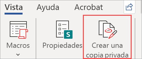 Muestra el botón Crear una copia privada en un documento
