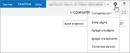 Botón de configuración de SharePoint 2013 con menú desplegable