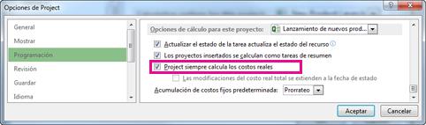 Pestaña Programación del cuadro de diálogo Opciones de Project