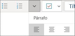 Alinear párrafos a la izquierda en la aplicación de OneNote para Windows 10