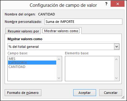 Configuración de campo de valor de tabla dinámica > cuadro de diálogo Mostrar valores como