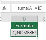 Excel muestra el error #¿NOMBRE? cuando una función tiene un error de escritura