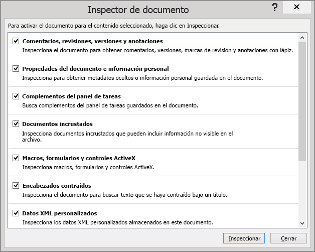 Se muestran las opciones del cuadro de diálogo Inspector de documento.