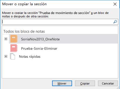 Cuadro de diálogo de la sección Mover o Copiar en OneNote para Windows 2016